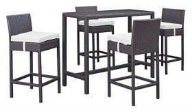 Convene 5 Piece Outdoor Patio Pub Set in Espresso White