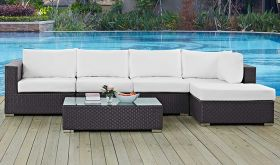 Convene 5 Piece Outdoor Patio Sectional Set in Espresso White
