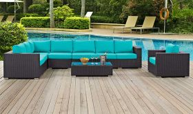 Convene 7 Piece Outdoor Patio Sectional Set in Espresso Turquoise