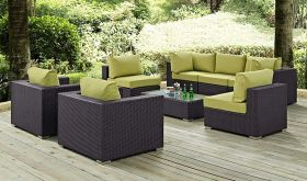 Convene 8 Piece Modern Outdoor Patio Sectional Set in Espresso Peridot