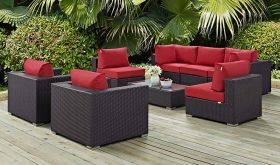 Convene 8 Piece Modern Outdoor Patio Sectional Set in Espresso Red