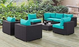 Convene 8 Piece Modern Outdoor Patio Sectional Set in Espresso Turquoise