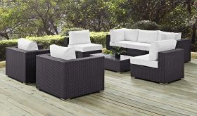 Convene 8 Piece Modern Outdoor Patio Sectional Set in Espresso White