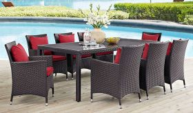Convene 9 Piece Outdoor Patio Dining Set in Espresso Red
