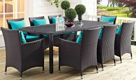 Convene 9 Piece Outdoor Patio Dining Set in Espresso Turquoise