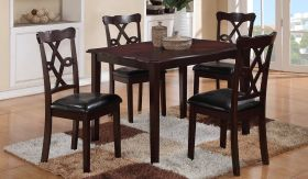 Copper Traditional Dining Set (Table + 4 Chair) in Dark Brown