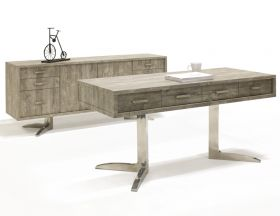 Ripon Modern Office Desk Set in Rustic Gray Veneer