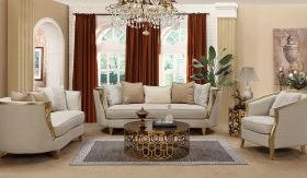 Cora Traditional Living Room Set in Beige