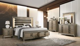 Coral Contemporary Bedroom Set in Brown