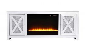 "Corinth 59"" Crystal Mirrored TV Stand with Crystal Insert Fireplace in White"