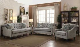 Crags Traditional Living Room Set in Gray
