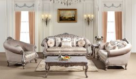 Cristina Traditional Living Room Set in Champagne