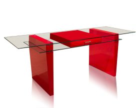 Rawlins Modern Office Desk in Red Lacquer