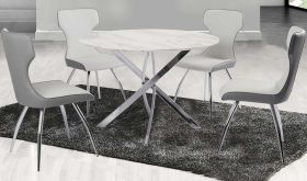 Cucamonga Casual Dining Room Set in White & Gray Marble