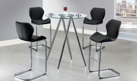 D1503BT Dining Room Set in Black & Chrome
