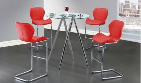 D1503BT Dining Room Set in Red & Chrome