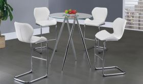 D1503BT Dining Room Set in White & Chrome
