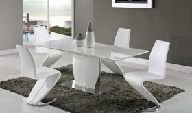 D2279 Dining Room Set in White High Gloss