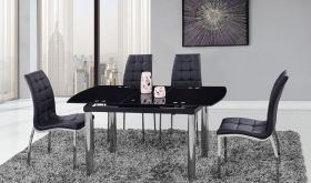 D30 Dining Room Set in Black & Chrome
