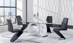 D9002 Dining Room Set in White & Black