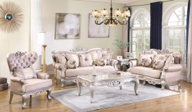 Daisy Traditional Living Room Set in Champagne
