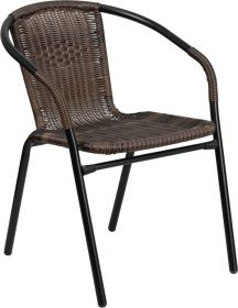Dark Brown Rattan Indoor-Outdoor Restaurant Stack Chair [TLH-037-DK-BN-GG]