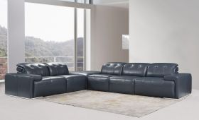 Canton Premium Italian Leather Sectional Sofa in Blue