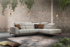 Davos Modern Right Sectional Sofa in Silver