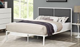 Della King Upholstered Fabric Bed in White Gray
