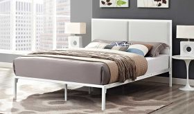 Della King Upholstered Vinyl Bed in White