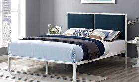 Della Upholstered Fabric Bed in White Azure