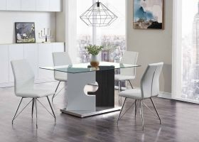 Denison Modern Dining Room Set in Gray & White