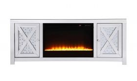 "Denning 59"" Crystal Mirrored TV Stand with Crystal Insert Fireplace in White"