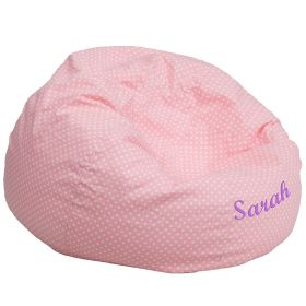 Personalized Oversized Light Pink Dot Bean Bag Chair [DG-BEAN-LARGE-DOT-PK-EMB-GG]