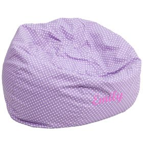 Personalized Oversized Lavender Dot Bean Bag Chair [DG-BEAN-LARGE-DOT-PUR-EMB-GG]