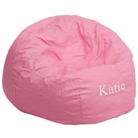 Personalized Oversized Solid Light Pink Bean Bag Chair [DG-BEAN-LARGE-SOLID-PK-EMB-GG]