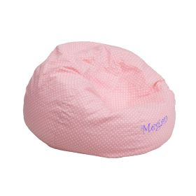 Personalized Small Light Pink Dot Kids Bean Bag Chair [DG-BEAN-SMALL-DOT-PK-EMB-GG]