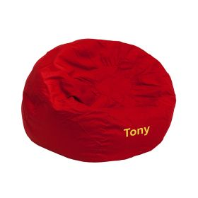Personalized Small Solid Red Kids Bean Bag Chair [DG-BEAN-SMALL-SOLID-RED-EMB-GG]