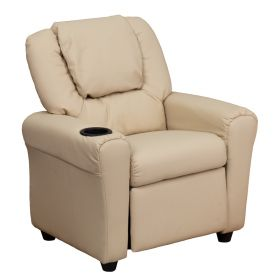 Contemporary Beige Vinyl Kids Recliner with Cup Holder and Headrest [DG-ULT-KID-BGE-GG]