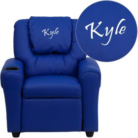 Personalized Blue Vinyl Kids Recliner with Cup Holder and Headrest [DG-ULT-KID-BLUE-EMB-GG]