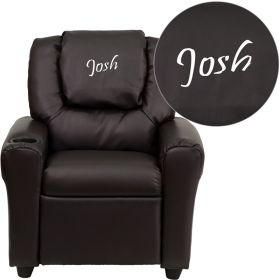 Personalized Brown Leather Kids Recliner with Cup Holder and Headrest [DG-ULT-KID-BRN-EMB-GG]