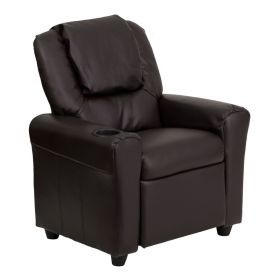 Contemporary Brown Leather Kids Recliner with Cup Holder and Headrest [DG-ULT-KID-BRN-GG]
