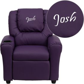 Personalized Purple Vinyl Kids Recliner with Cup Holder and Headrest [DG-ULT-KID-PUR-EMB-GG]