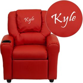 Personalized Red Vinyl Kids Recliner with Cup Holder and Headrest [DG-ULT-KID-RED-EMB-GG]