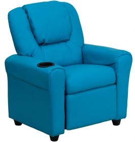 Contemporary Turquoise Vinyl Kids Recliner with Cup Holder and Headrest [DG-ULT-KID-TURQ-GG]