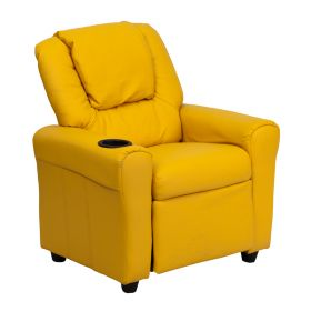 Contemporary Yellow Vinyl Kids Recliner with Cup Holder and Headrest [DG-ULT-KID-YEL-GG]