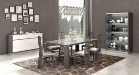 Mangano Modern Dining Room Set in Grey Silver and White