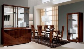 ESF Capri Dining Room Set in Walnut Lacquer