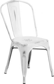Distressed White Metal Indoor-Outdoor Stackable Chair [ET-3534-WH-GG]