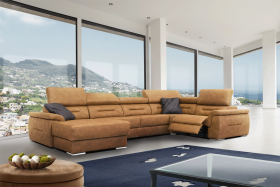 Domino Modern Sectional Sofa with 1 Electric Recliner in Brown